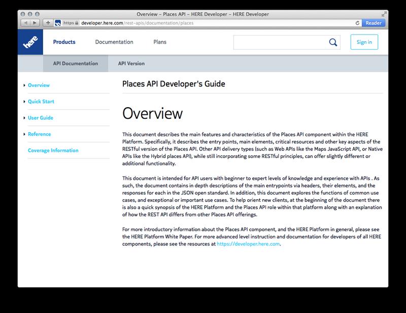Nokia Places API docs